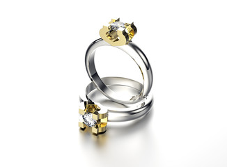 3D illustration of gold Ring with diamond. Jewelry background. Fashion access