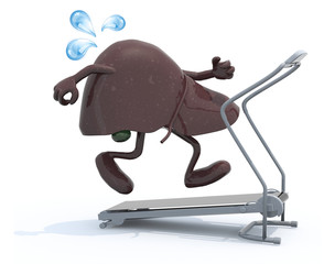 liver with arms and legs on a running machine