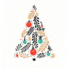 Hand drawn Christmas tree decorated with red and green balls. Greeting card vector design.