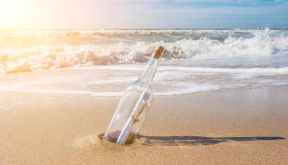 Flaschenpost, strand, urlaub