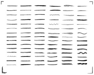 Set of  black  brush strokes