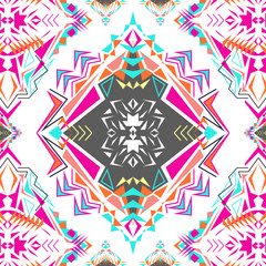 Vector seamless texture. Tribal geometric pattern. Electro boho color trend. Aztec ornamental style