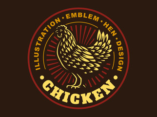 Beautiful chicken emblem on dark background
