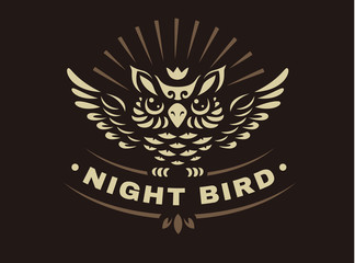 Vector owl illustration - abstract emblem