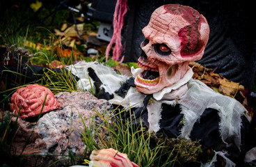 Hallowe'en zombie in graveyard