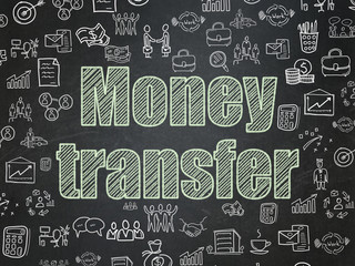 Business concept: Money Transfer on School board background