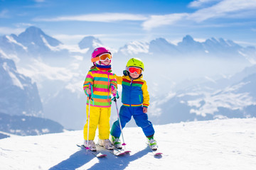Children skiing in the mountains