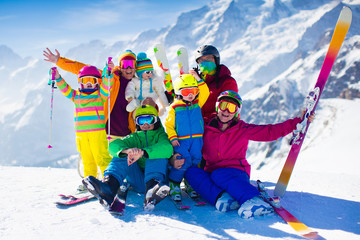 Garden Poster Winter sports Family with kids in the mountains