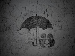 Privacy concept: Family And Umbrella on grunge wall background