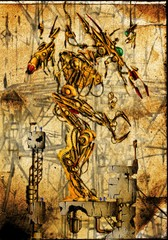 Portrait of an antique cyborg - art illustration