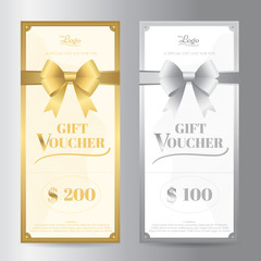 Elegant  portrait gift voucher or gift card template with shiny gold and silver bows vector ribbon