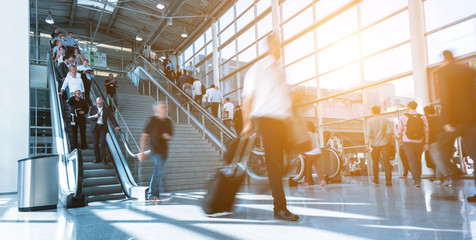 Blurred business traveler at Airport