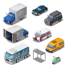 Car park with various transport, vector icons set