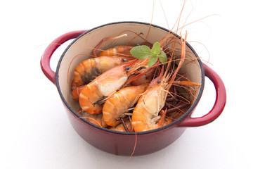 Pot of cooked prawns