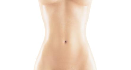 Pancia o addome di donna nudo e magro 3d