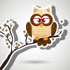 owl beige tree leaves beige vector illustration eps 10