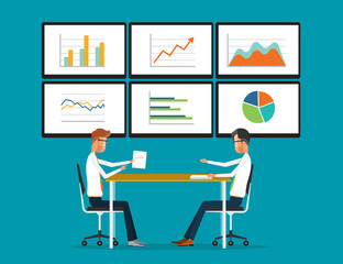 flat vector two business people analytics graph report on monitor dashboard and business working concept