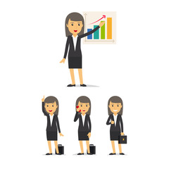 Businesswoman characters in different poses on white background vector set