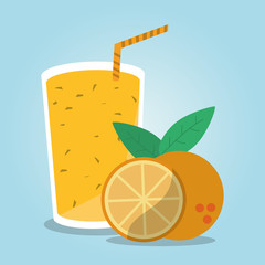 Smoothie drink and orange fruit. Summer fresh and organic theme. Colorful design. Vector illustration