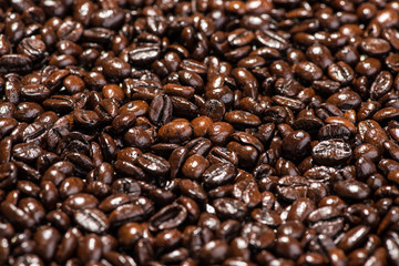 Coffee beans. Roasted coffee beans background.
