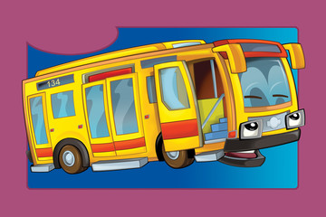 Cartoon with car - for different usage - happy bus - illustration for children