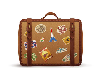Old vintage leather suitcase with travel stickers, vector illustration