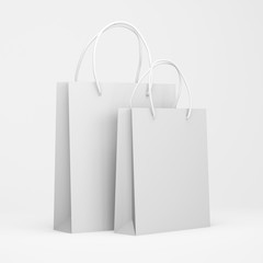 White packages isolated on a white background, shopping bags. Mock up. 3d render