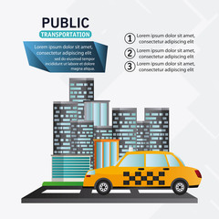 Taxi vehicle icon. Public Transportation travel and ride theme. Isolated and colorful design. Vector illustration