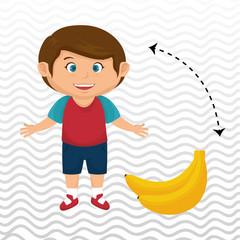 cartoon boy peach fruit vector illustration eps 10