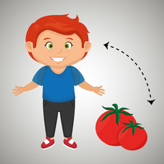 boy cartoon tomato vegetable health vector illustration eps 10