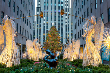Acrylic Prints New York City Famous Christmas Decoration with Angels and Christmas Tree, NYC