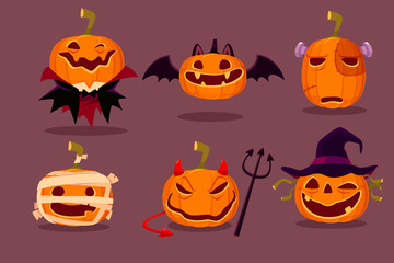set of halloween pumpkins in halloween character costumes