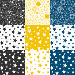 Cute seamless pattern with stars for a birthday, holiday greeting cards, prints. Vector abstract backgrounds set.