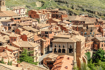 sight of the picturesque medieval people of Albarracin in the province of Teruel, Aragon, Spain