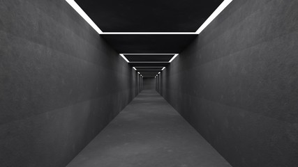 empty Corridor, in concrete and with lights