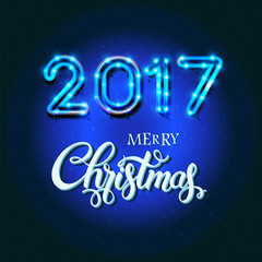 Merry Christmas 2017 sign on blue background with neon figures. Calligraphy text, poster template. Vector