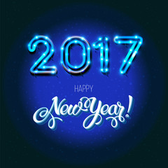 New Year 2017 design. Vector neon figures with lights. Greeting card background. Merry Christmas.