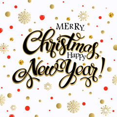 Merry Christmas and happy new year 2017. Vector lettering on white background whit snowflake and red, gold dots on poster. Isolate font golden decor.