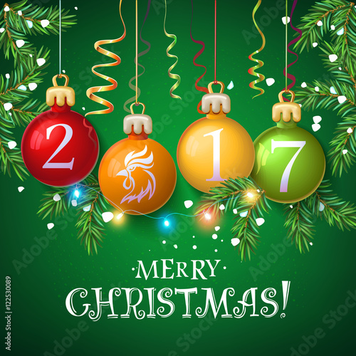 merry christmas 2017 decoration poster card new year background with garlands tree branches
