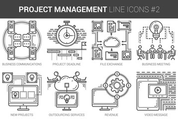 Project management line icon set.