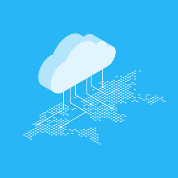 Isometric vector illustration showing the concept of cloud computing. From the cloud in the world map