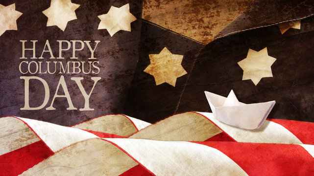 Happy Columbus Day. Stars and Stripes and Paper Boat.