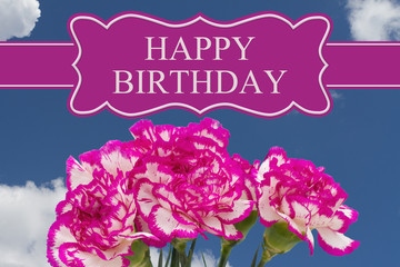 Happy Birthday Greeting with a Pink and White Peony Bouquet