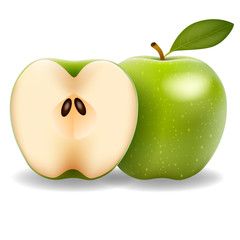 Green apple and slice isolated on white photo-realistic