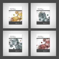 Vector annual report Leaflet Brochure Flyer template design, book cover design. Abstract hexagon creative template