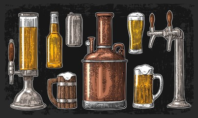 Beer set with tap, class, can, bottle and tanks from brewery factory.