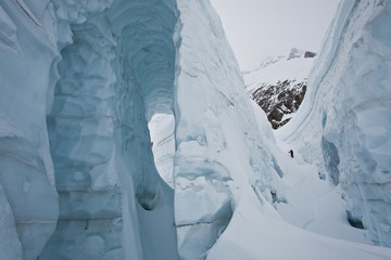 A male backcountry skier weaves his way up a heaily crevassed glacier. Icefall Lodge, Golden, British Columbia, Canada
