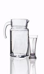 decanter and glass with clean water