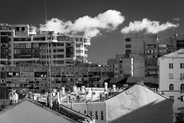 black-and-white photo of the city.