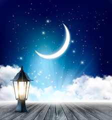 Night Sky Background With Crescent Moon And Ramadan Lamp. Vector